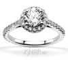 Round center halo shared prong set diamond engagement ring hearts on fire inspired