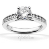 Channel set cathedral diamond bridal set