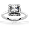 Square halo diamond engagement ring for princess cut center