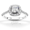 Cushion center shared prong diamond engagement ring