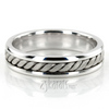 Hm018 handmade wedding ring consists of one large center braid and shiny edges