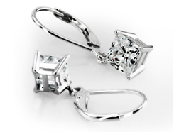 Four Prong Princess Cut Dangle Stud Earrings