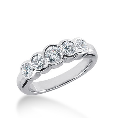 1.00 ct. Bezel Set Five-Stone Diamond Wedding Band