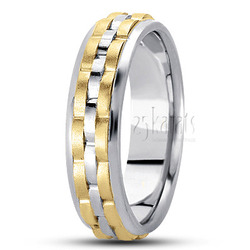 Fancy carved contemporary wedding band