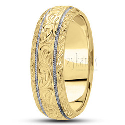 Hand engraved fancy carved wedding band