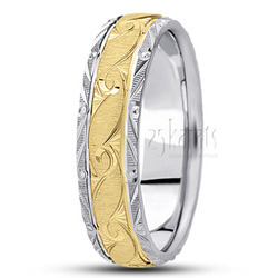 Fancy carved diamond cut wedding ring