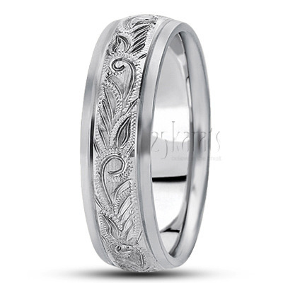 FC101077 Previous Hand Engraved Fancy Carved Wedding Band
