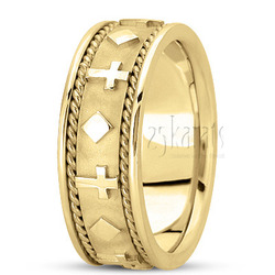 Hand made religious wedding band