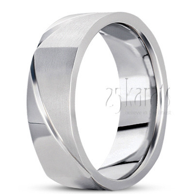 BSQ100484 Basic Carved Square Wedding Band