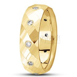 Round diamond classic wedding band