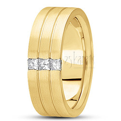 Diamond classic princess wedding band