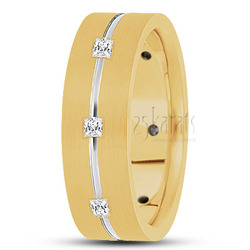 Diamond classic princess cut wedding band