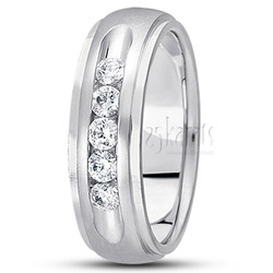 Diamond classic round cut channel wedding band