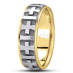 Basic carved religious wedding ring