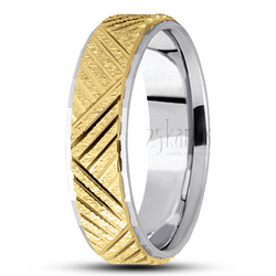 Basic carved diamond cut wedding band