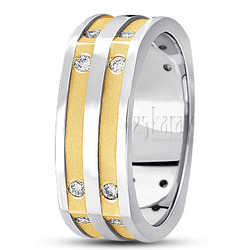 Diamond classic round cut wedding band