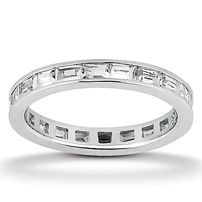 Baguette Cut Channel Set Diamond Eternity Wedding Band