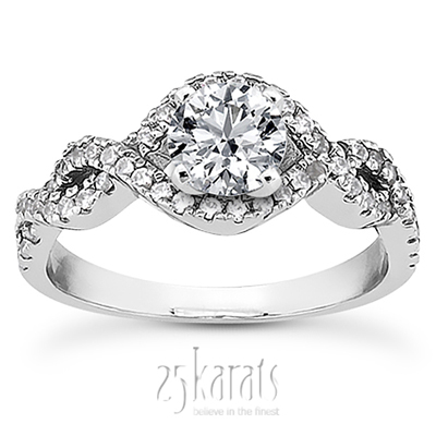 Infinity design diamond engagement ring 039 ct tw for Infinity design wedding ring