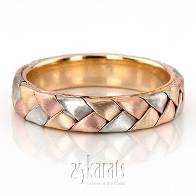Bester Tri Tone Hand Woven Wedding Band