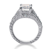 Emerald cut center diamond antique engagement ring