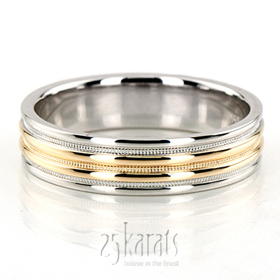 tt212 elegant two tone milgrain wedding ring - Fancy Wedding Rings