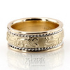 Hc100235 floral carved antique wedding band