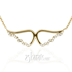 Awp14kw002 uriel gold diamond angel wings pendant