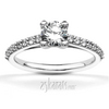 Classic shared prong cathedral diamond engagement ring with tulip head