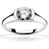 Half bezel contemporary designer engagement ring