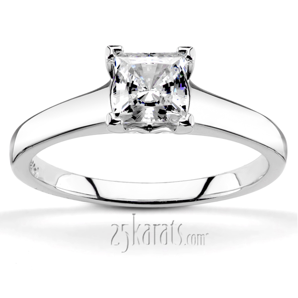 v tip prong square center solitaire engagement ring - Square Diamond Wedding Rings