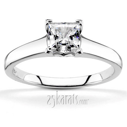 Four prong princess cut center diamond engagement ring v tip prongs