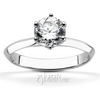 Designer inspired knife edge solitaire engagement ring with fluted 6 prong head