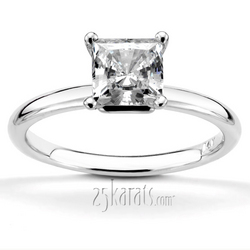 Princess cut center diamond engagement ring