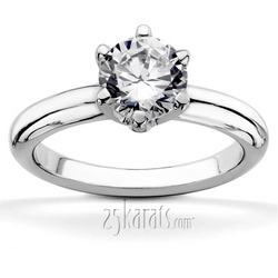 Six prong classic solitaire engagement ring