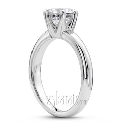 Six prong rounded shank solitaire engagement ring