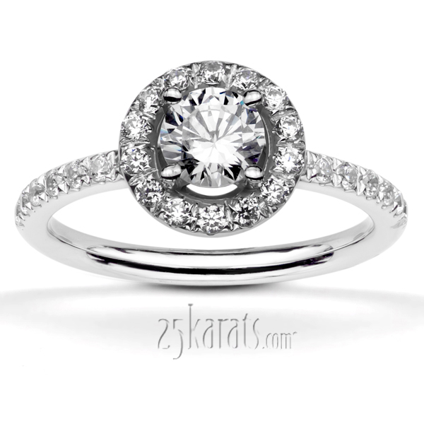 enr8342 previous split prong pave set halo engagement rings - Halo Wedding Rings