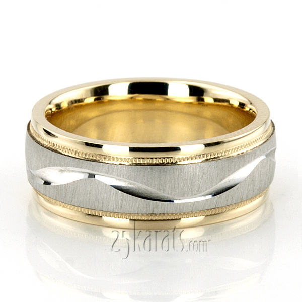 width 7 mm finish cross satin color yellow white yellow tt233 two tone wave design milgrain wedding band