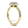 Gold halo pave set diamond engagement ring