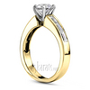 Channel set baguette gold engagement ring
