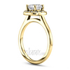 Cushion center plain shank halo gold engagement ring