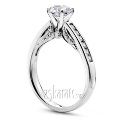 Cathedral Channel Set Diamond Engagement Ring 1 3 Ct T W