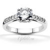 Classic pave set basket center diamond engagement ring