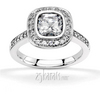Legacy inspired pave set bezel center cushion engagement ring