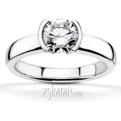 Half bezel designer inspired solitaire engagement ring