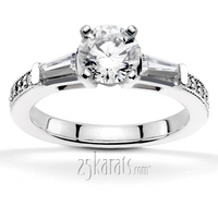 Tapered baguette sides and pave set shank diamond engagement ring
