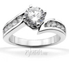 Bypass channel set diamond engagement ring set