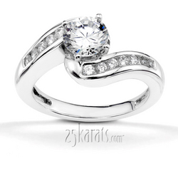 By pass channel set diamond engagement ring