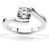 Tension set by pass solitaire engagement ring