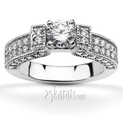 Pave set diamond engagement ring set