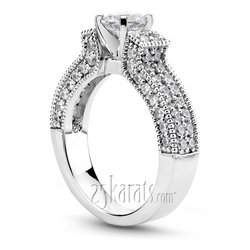Three side pave set diamond engagement ring set